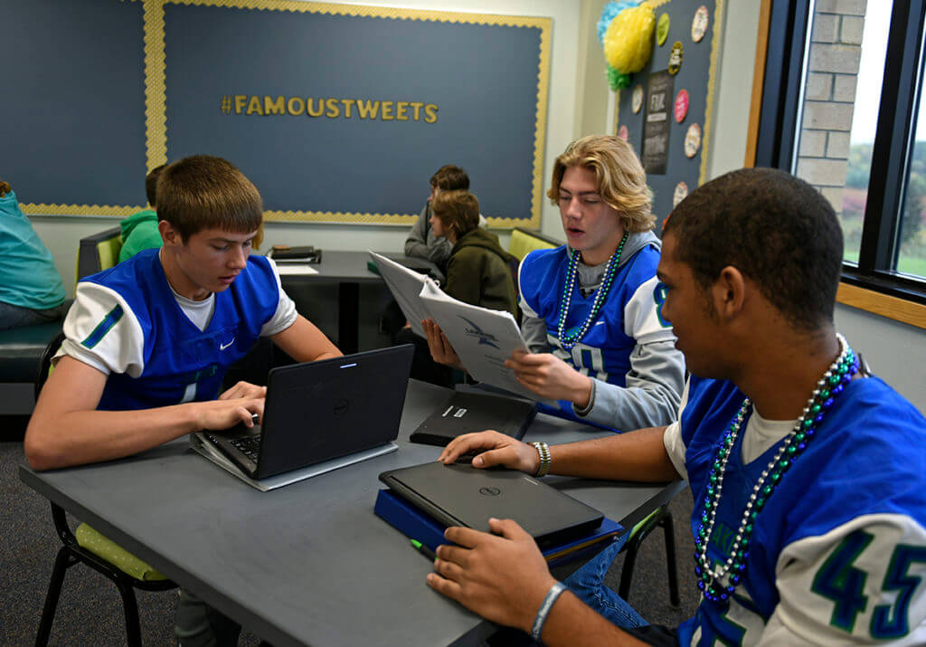 Minnewaska Area High School students studying with computers