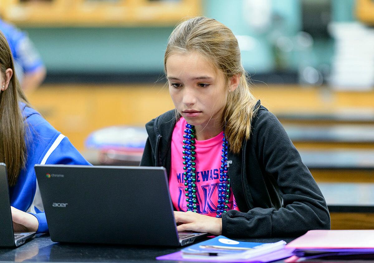 Minnewaska Middle School student using computer